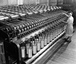 Spinning machines at the A.H. Rice Mill in the 1940s. Photo, courtesy of the Berkshire Historical Society