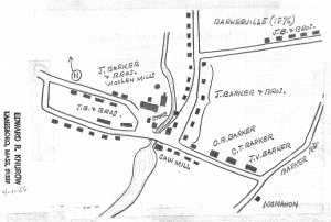Hand-drawn rendering of Barkerville by Edward Knurow, 1956. Courtesy, Berkshire Athenaeum.