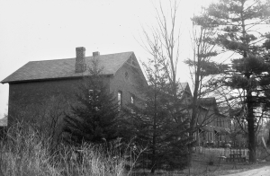 Row housing for Pontoosuc Woolen Mill.  Photo, 1980, courtesy of Berkshire Historical Society