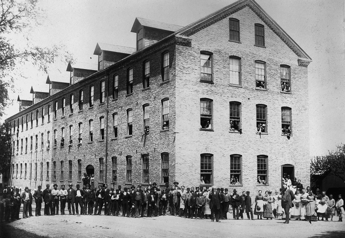 Employees congregate outside the Robbins and Kellogg Shoe Company, 1880.  Photo, courtsey of Berkshire Historical Society