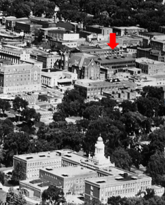 Aerial view of downtown Pittsfield in 1965, with old Stanley Electric Manufacturing building highlighted, on Renne Avenue.  Photo courtesy, Berkshire Historical Society